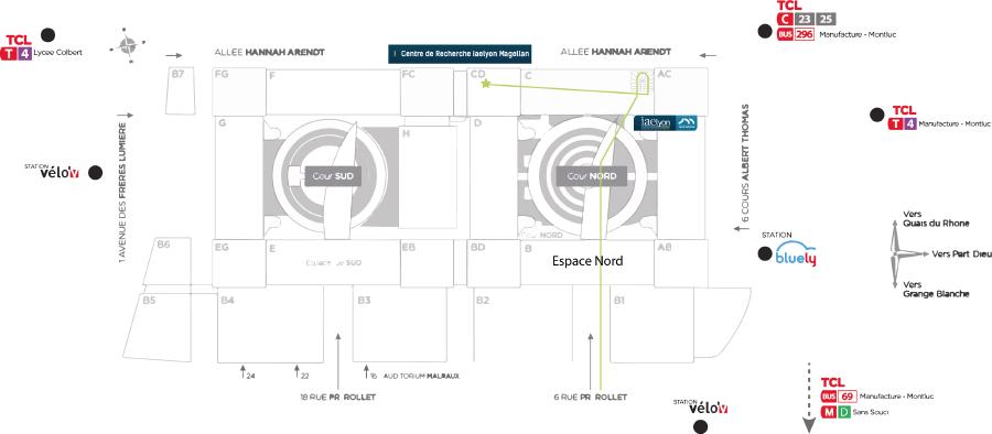 plan d'accès centre recherche iaelyon Magellan